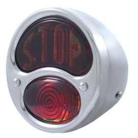 Stainless Steel Tail Light - Glass Stop Lens