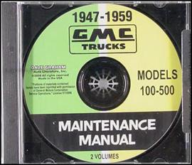 GMC Pickup Truck Shop Manual on CD 1951-54 &  1957- 1959 Repair