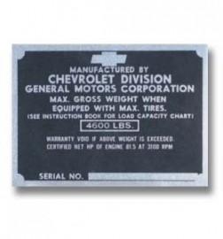 2-240.  Door Post ID Plate.  1947-49.  Chevrolet