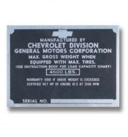 Door Post ID Plate.  1947-49.  Chevrolet