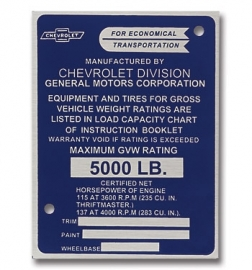 Door Post ID Plate.  1958-59.  Chevrolet