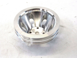 SBC 350 Aluminum 2 Groove Long Water Pump Pulley Polished