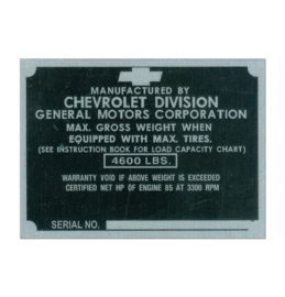 Door Post ID Plate.  1950.  Chevrolet