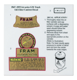 1947-55  GM. Oil Filter Canister decal,  Fram
