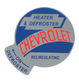1955-59 Chevrolet Truck  Recirculation heater & Defroster Decal