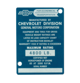 Door Post ID Plate.  1953.  Chevrolet