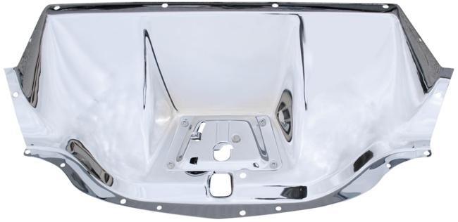 Motorkap Sluitplaat Chroom- Stainless steel.  1947-54