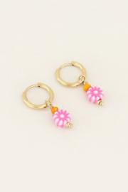 My Jewellery Oorbellen met roze bloemetjes kraal