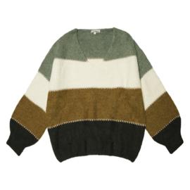 V-hals trui bruin/groen