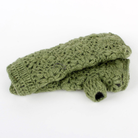 Sjaal met  verhaal handwarmers Mosgroen