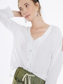 Meisïe - Luchtige blouse met lange mouwen wit