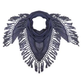 Sjaal blauw met flosjes