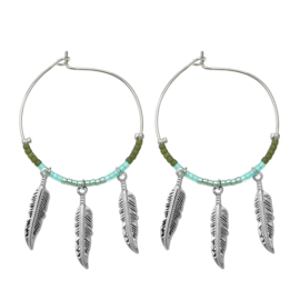 Oorbellen Colourful feathers - groen