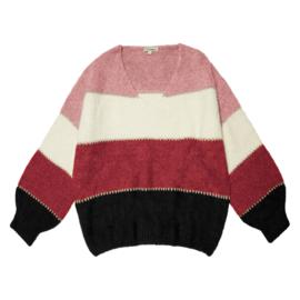 V-hals trui Roze/wijnrood