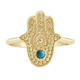 Happy hippies Ring Hamsa goud