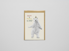 A5 prentbriefkaart Furry B-day - Ferdy Remijn