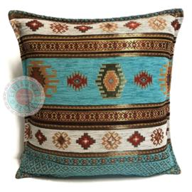 Kussen Aztec turquoise 45x45