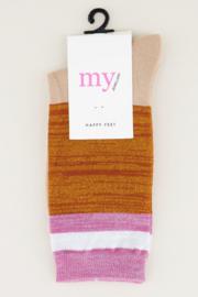My Jewellery - Gestreepte sokken met glitters (Oranje/roze)