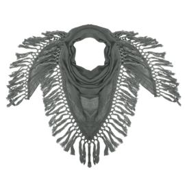 Sjaal Olijfgroen met flosjes