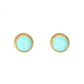 Happy Hippies Oorbellen studs Opaal rond goud