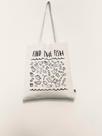 Totebag Find the fish – wit