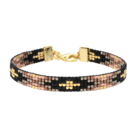 Mint 15 - Beaded Bracelet 'Metallic Black & Brown'