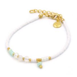 Mix bracelet white & mint - Beach pastels