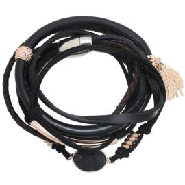 Wikkelarmband boho winter- zwart