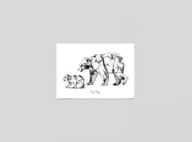 Postkaart Kubisme ijsberen - Ferdy Remijn