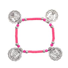 Armband met munten roze