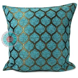 Kussen Honingraat Turquoise bronskleurig 45x45