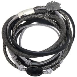 Wikkelarmband boho winter- grijs