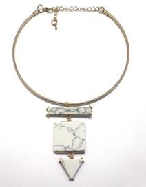 Ketting met marmeren hangers (choker)