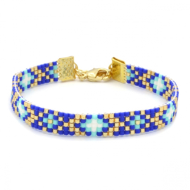 Beads armband blue diamonds - Summer party
