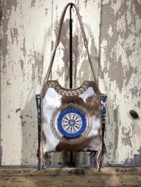 Luxe lederen bohemian handtas – Indian touch