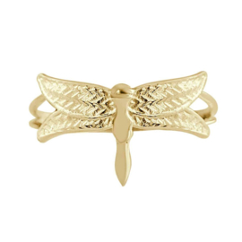 Happy hippies Ring Dragonfly goud