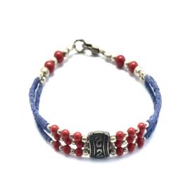 Armband met bedel blauw-rood