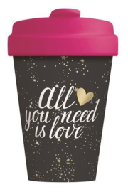 Bamboo cup All you need is love - gold