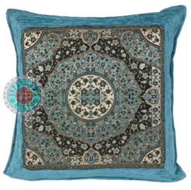 Kussen Mandala round turquoise 45x45