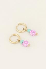 My Jewellery Oorbellen met lila bloemetjes kraal
