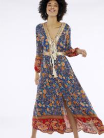 Meisïe - Kobaltblauwe jurk met bloemenprint