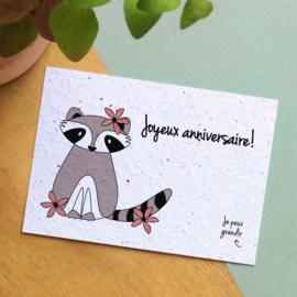 Zaaibare kaart - Joyeux Anniversaire! (bloemenmix)