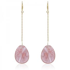 Oorbel oval pink
