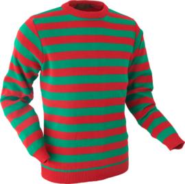 Chenaski Trui orange and green stripes