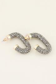 My Jewellery Oorbellen zilverkleurige strass ovaal