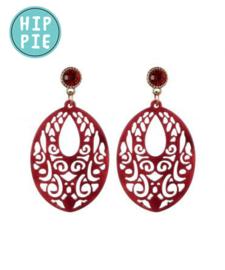 Oorbellen tribe paars/rood