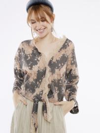 Meisïe -  Kimono blouse met franse mouwtjes zalm/grijs