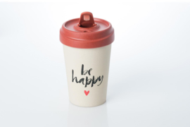 Bamboo cup Happy Calligraphy