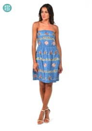 Kitch & Pop strapless jurk Denimlook