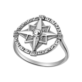 Happy hippies  Ring Compass sterling zilver